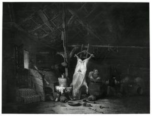 Boereninterieur met een geslacht varken en een worst makende vrouw