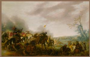Landschap met ruitergevecht bij een rivier, op de achtergrond een konvooi