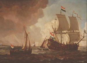 Een Nederlands oorlogsschip en kleinere boten in de zachte wind