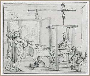 Interieur met man zittend op een mechanisch verstelbare stoel