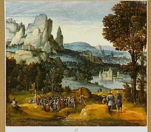 Bergachtig landschap met de prediking van Johannes de Doper
