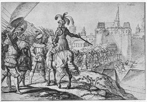 Koning Hans in de slag van Rotebro voor Stockholm in 1497