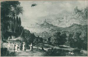 Berglandschap met Herse en haar zusters op weg naar de tempel van Minerva
