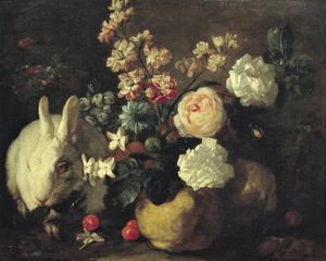 Stilleven met witte konijnen, bloemen en fruit