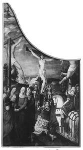 De kruisiging (op de binnenzijde: De onthoofding van de H. Catharina)