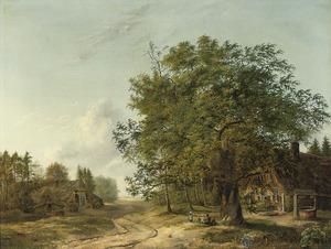 Boslandschap met boerderijen en spelende kinderen