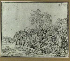 Landschap met huizen en figuren
