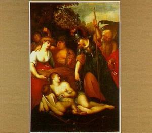 Minerva geeft Venus een teugel om Cupido te bedwingen