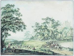 Landschap met korenoogst, boerderijen en kasteel
