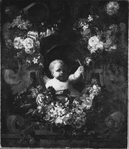 Allegorie met een putto in bloemenkrans