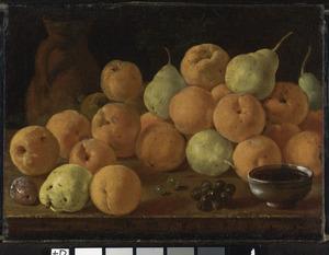 Stilleven met perziken, peren en druiven