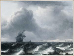 Een driemaster voor de kust bij ruw weer