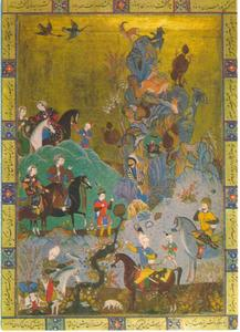 Sirin bezoekt Farhad'i, Safavisch miniatuur van een jacht