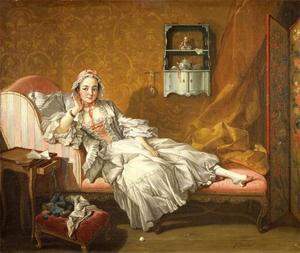 Een dame op haar dag bed