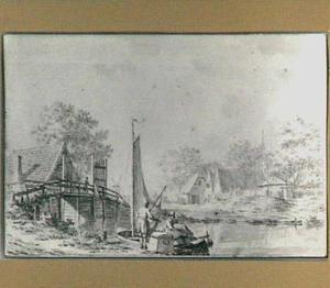 Dorpsgezicht met rivier, brug en figuren bij een boot
