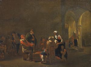 Herberginterieur met handlezende zigeunerin bij een groep triktrak spelende boeren