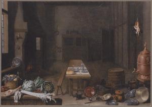 Keuken interieur met stillevens van keukengerei, fruit en groenten