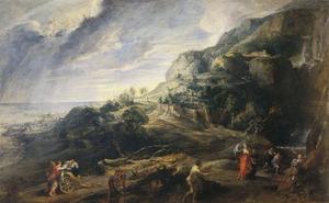 Kustlandschap met de ontmoeting van Odysseus en Nausicaa
