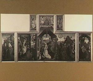 De visitatie (links), de verkondiging aan Augustus, de geboorte en de verkondiging aan de herders (midden), de aanbidding van de Wijzen (rechts)