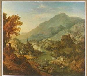 Bergachtig rivierlandschap