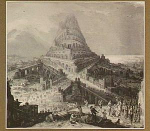 Landschap met de bouw van de toren van Babel (Genesis 11:3-5)
