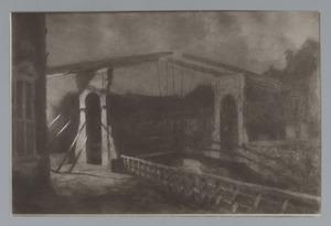 Gezicht op de ophaalbrug tussen de Drommedaris en Zuiderspui, Enkhuizen