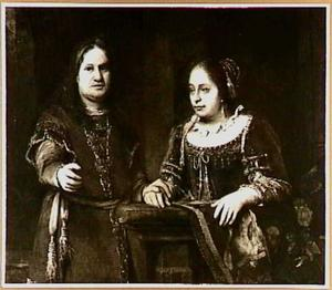 Portret van een onbekend echtpaar in fantasiekostuum