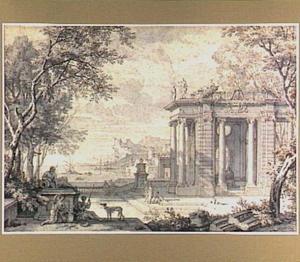 Klassieke tuinarchitectuur met figuren, op de achtergrond een Italiaanse haven