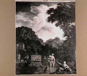 Arcadisch landschap met herders en sarcofaag