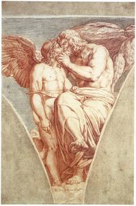 Jupiter omhelst Cupido (uit: Lucius Apuleius, De gouden ezel)
