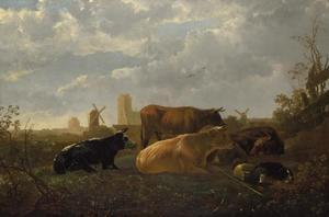 Slapende herder en vijf koeien in een landschap met Dordrecht in de verte