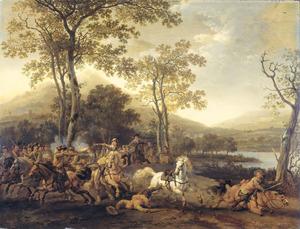 Landschap met vechtende soldaten te paard langs een rivier