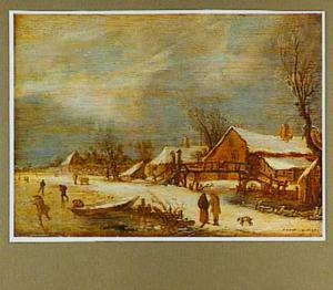 Winterlandschap met enkele huizen en een brug