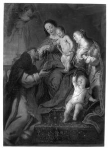 De H. Maagd overhandigt de rozenkrans aan de H. Dominicus in aanwezigheid van de H. Catharina van Siena