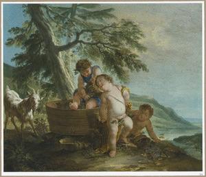 Putti bij een wijnpers in een landschap: allegorie op de herfst