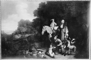 Dubbelportret, mogelijk van Simon van der Stel (1639-1712) en zijn zoon Willem Adriaan van der Stel (1664-1734), met een bediende
