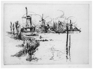 Holllands landschap met windmolens