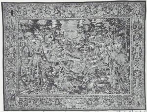 Amadis vechtend met de ridders van Leonor