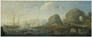 Zuidelijk landschap met schepen in een baai