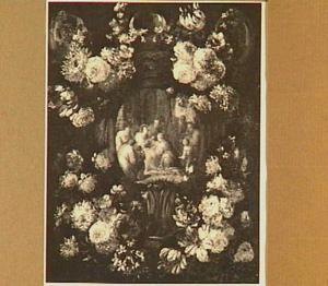 Bloemenkrans met daarin een afbeelding van Christus die de kinderen ontvangt