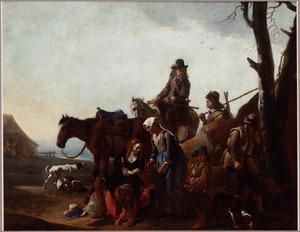 Landschap met rustende jagers (de zittende jager in het midden is een vrouw in mannenkleren)