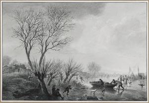 Winterlandschap met figuren op het ijs