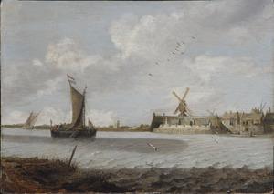Zeilschepen op een rivier voor een ommuurde stad