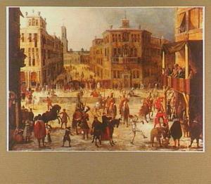 Een riddertoernooi tijdens het Carnaval in een Renaissance-stad met toeschouwers en kermisvermaak