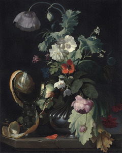 Bloemen in een vaas en een roemer op een stenen tafel