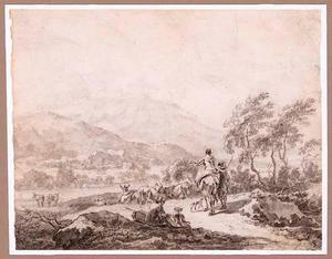 Zuidelijk berglandschap met herder en vee en rustende reiziger
