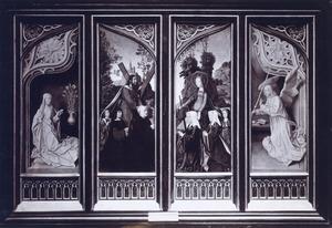 De stichter en zijn zonen, de H. Andreas (binnenzijde linkerluik), de stichtster en haar dochters, de H. Catharina (binnenzijde rechterluik), de annunciatie (buitenzijde luiken)