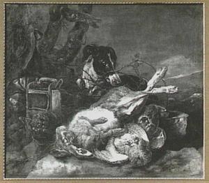 Hond bij een buit van haas en patrijzen; links een vogelkooi