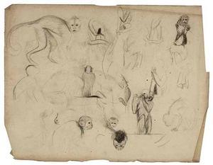 Schetsboekblad met schetsen van doodshoofdaapjes