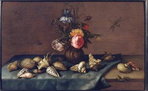 Stilleven met vaasje bloemen, schelpen, insekten en een hagedis